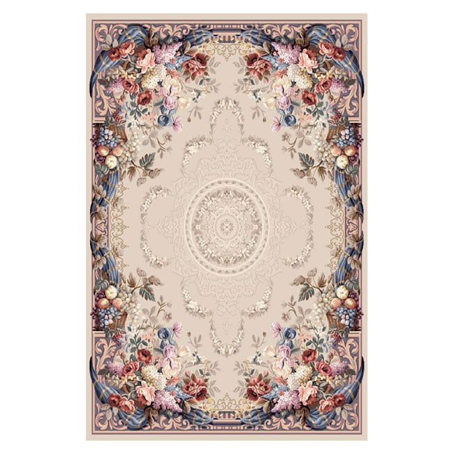 Classic Floral Amp Grape Ivory Wool Rug 6 X 9 Free