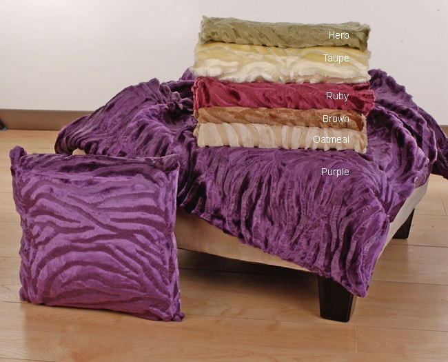 Embossed Zebra Throw and Pillow Set