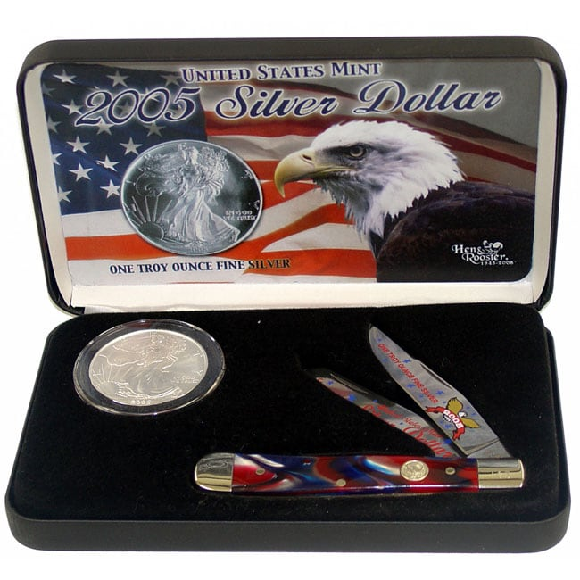 Hen & Rooster 2005 Silver Dollar & 4-1/8-inch Knife Gift Set