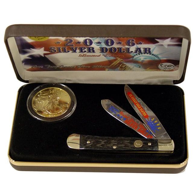 2006 Hen & Rooster 24-kt. Silver Dollar & Trapper Knife Set