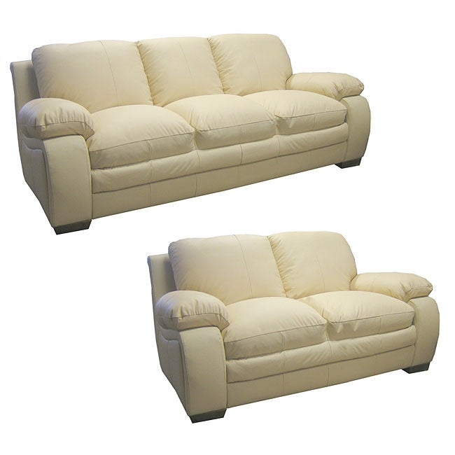 Luxurious Ivory Leather Sofa And Loveseat Free Shipping Today 10264852