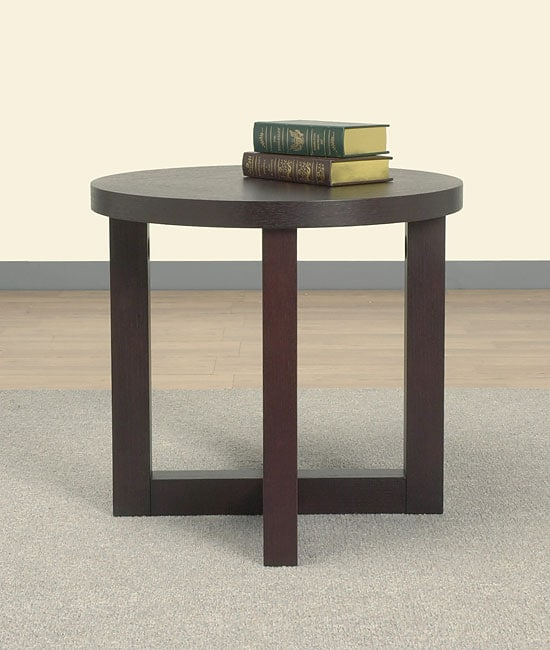 Wenge Round End Table  Free Shipping Today  Overstockcom  10267736
