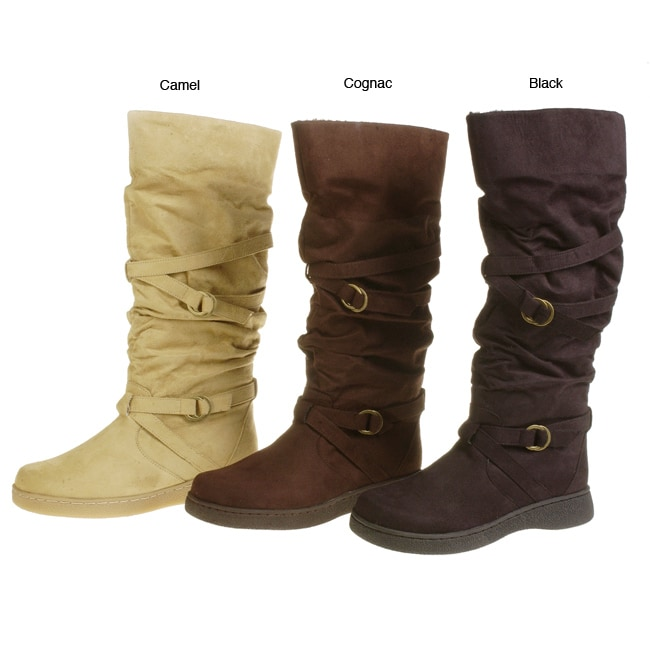 0119da9e5a04 Shop On Your Feet Women s Otero Suede Flat Boots - Free Shipping Today -  Overstock - 1950807