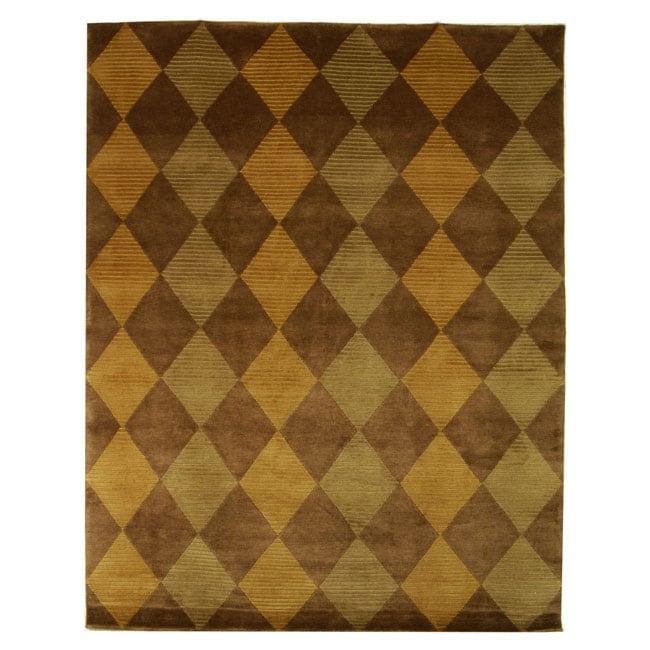 Safavieh Hand-knotted Tibetan Checkered Wool Rug - 6' x 9'