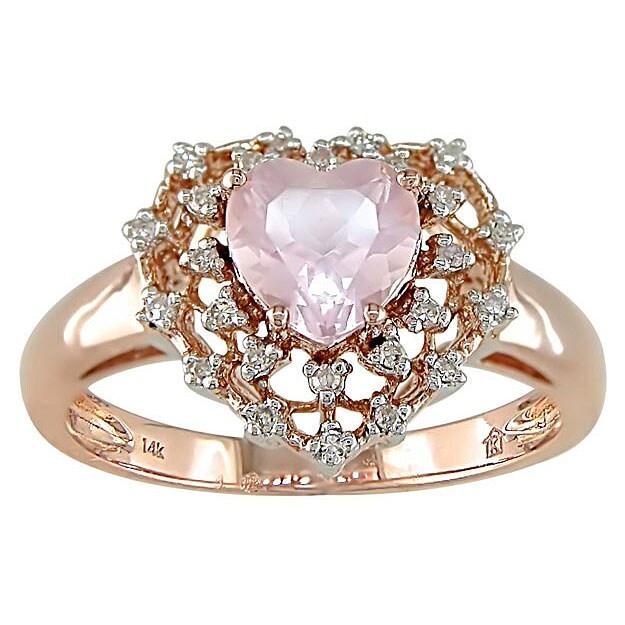 14k Pink Gold 110ct TDW Diamond Rose Quartz Ring Free Shipping