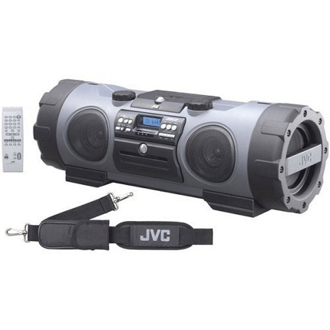 jvc kaboom portable cd mp3 boombox with active ported subwoofer system and built in guitar amp. Black Bedroom Furniture Sets. Home Design Ideas