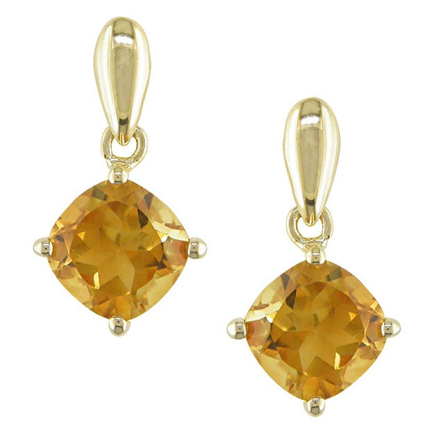 14k Yellow Gold Square Citrine Drop Earrings