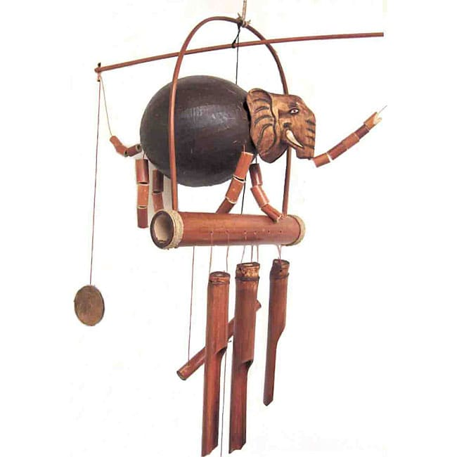 Handcrafted Elephant Bamboo Wind Chime Indonesia Free