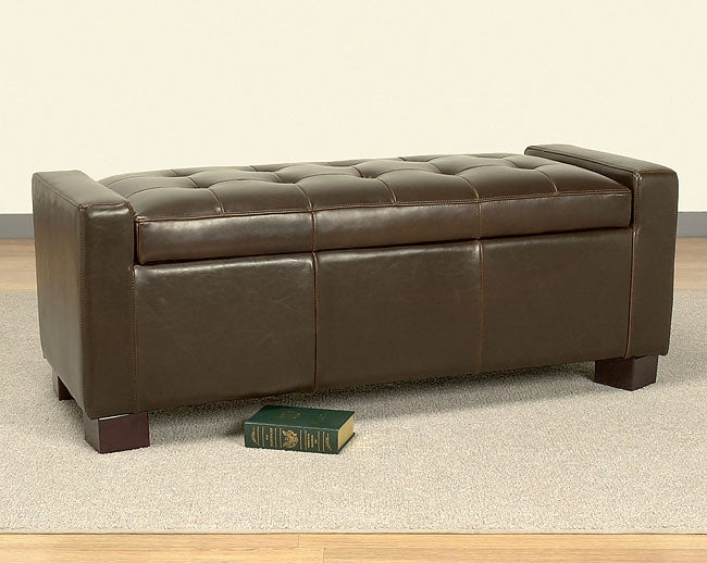Tufted Leather Storage Bench Dark Brown Free Shipping