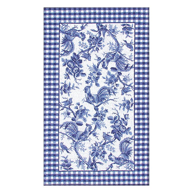 7 6 X 9 6 Hand Hooked Rooster Toile Blue Rug Free