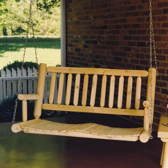 Rustic Log Cedar Adirondack Hanging Porch Swing Free