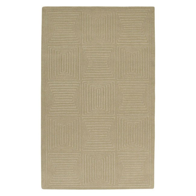 Hand-crafted Solid Beige Geometric Manhattan Wool Rug (3'3 x 5'3) - Thumbnail 0