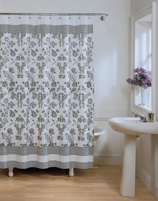 Black And White Toile Curtains Black and White Toile Flowers