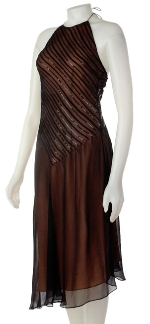 Adrianna Black Halter with Nude Underlay Dress