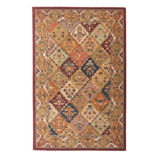 Hand-tufted Baktarri Red/ Multi-Color Wool Rug (4' x 6')