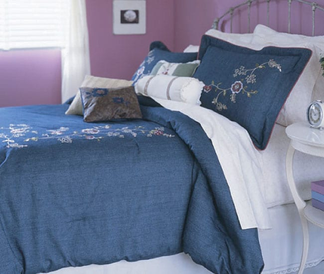 Blue Mountain Denim Embroidered 4-piece Comforter Set
