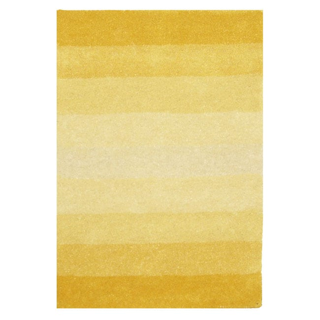 Hand-tufted Yellow Stripe Wool Rug (5' x 8')