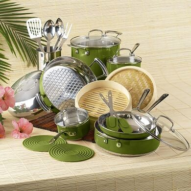Roy Yamaguchi 22-Piece Green Cookware Set