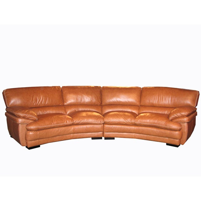 Curved Sofa Sectional Leather: Curved Brown Leather Sectional Sofa
