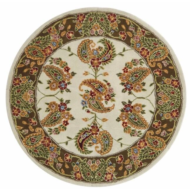 Safavieh Handmade Tabriz Ivory/ Sage Wool and Silk Rug (6' Round)