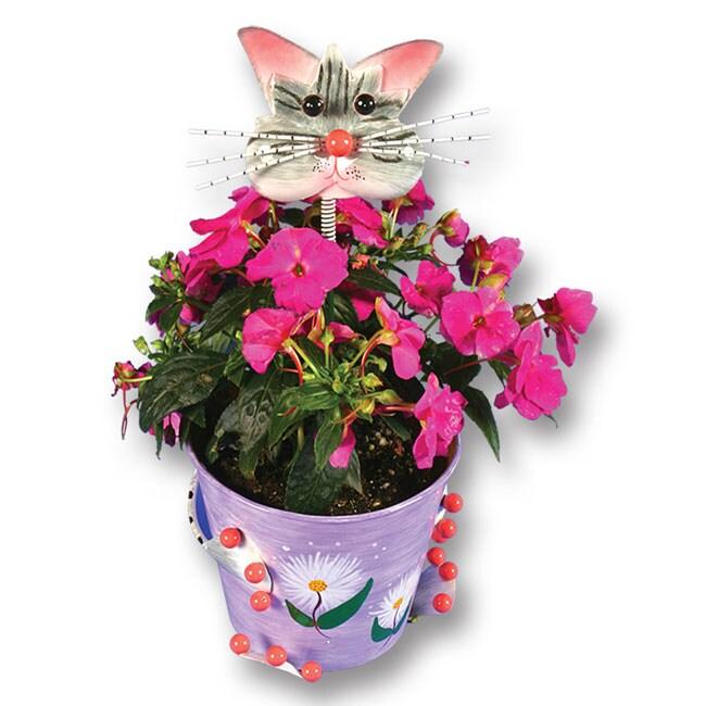 Metal Flower Pot W Playful Cat Head Pick Free Shipping