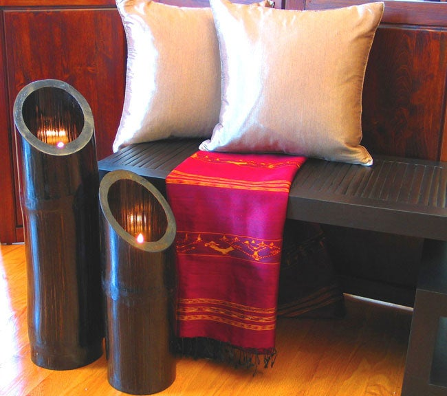 Set of Two Bamboo Floor Candleholders - Free Shipping Today ...