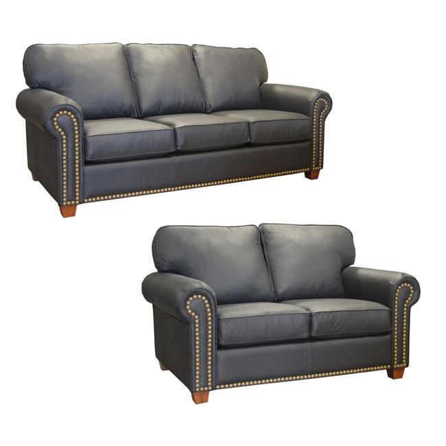 Ebony Leather Studded Sofa and Loveseat