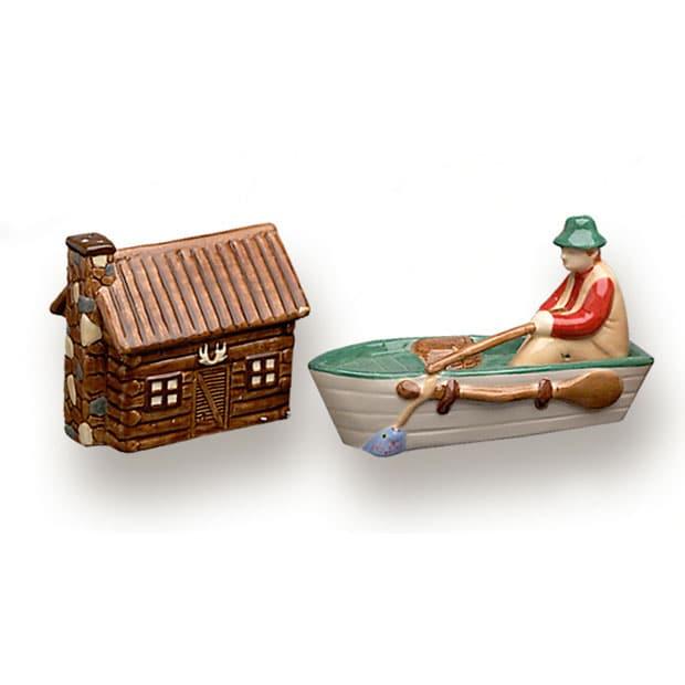 Log Cabin & Fisherman Salt & Pepper Shaker Set