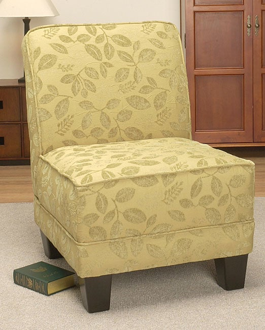 Green Leaf Welted Slipper Chair