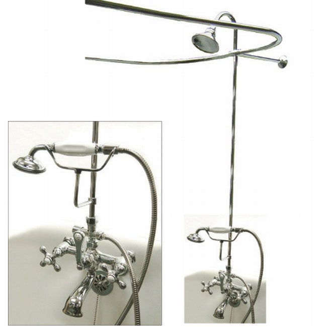 Chrome Complete Clawfoot Tub And Shower Package Free Shipping - Clawfoot tub shower fixtures