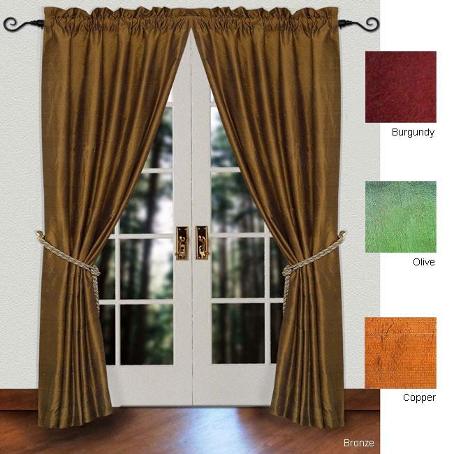 Curtains Ideas 86 inch curtain panels : Lined Raw Silk 86-inch Rod Pocket Curtain Panel - Free Shipping On ...