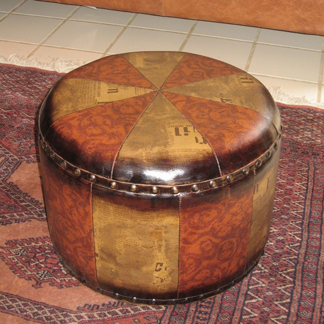Faux Leather Small Round Ottoman Free Shipping Today