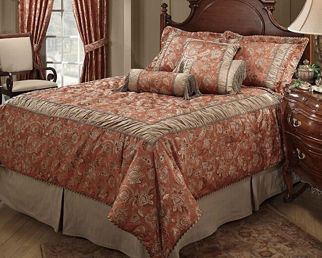 Waldorf Coral Luxury 4-piece Comforter Set