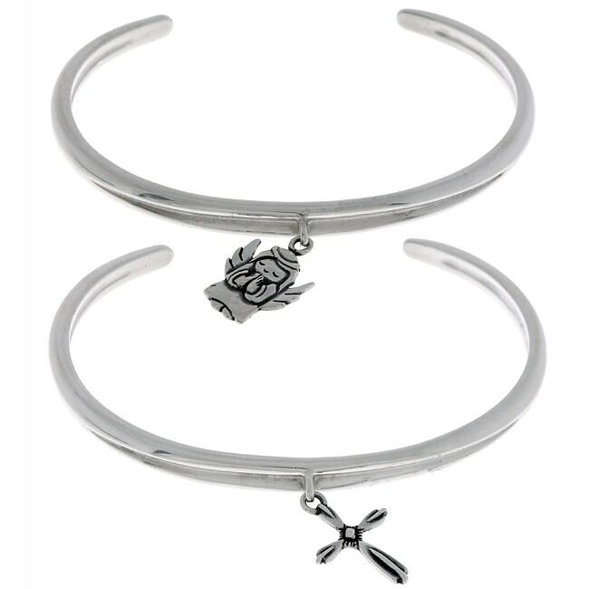 Carolina Glamour Collection Sterling Silver Cross or Angel Charm Bracelet