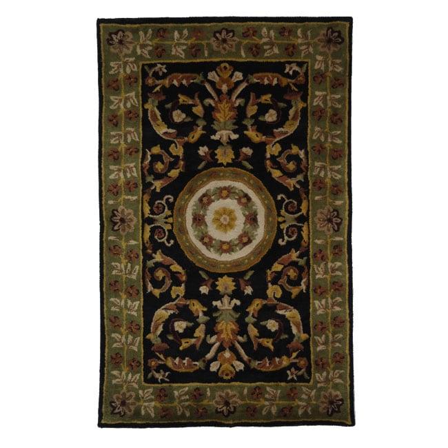 Safavieh Handmade Classic Agra Black/ Green Wool Rug - 6' x 9'