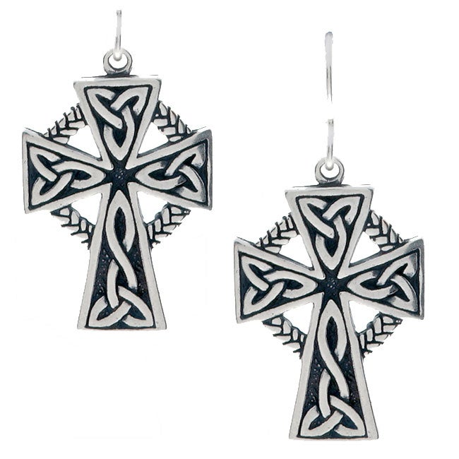 Carolina Glamour Collection Sterling Silver Large Celtic Cross Earrings 17 Mm W X 37 15