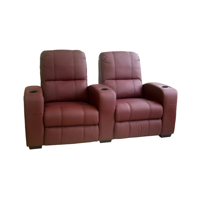 Burgundy Leather 2-seat Recliner Home Theater Seating ...