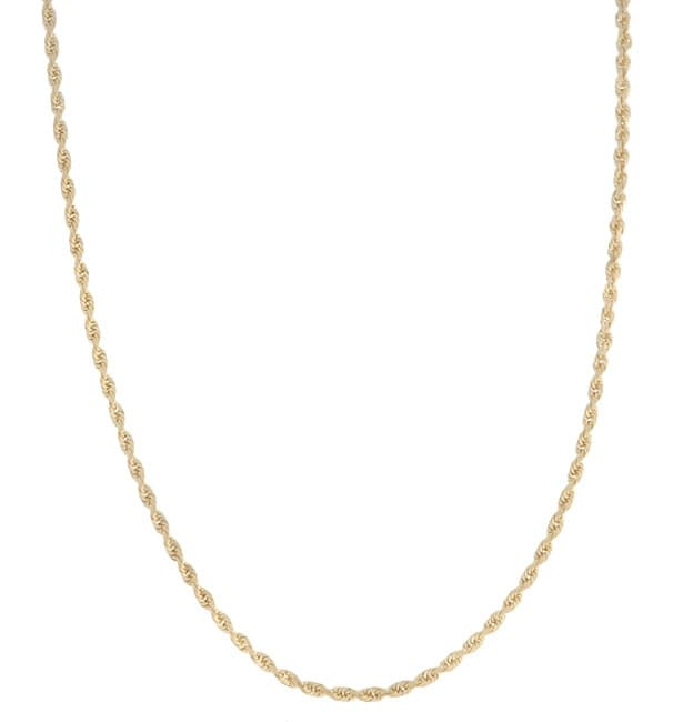 14k Yellow Gold 24-inch Diamond-cut Rope Chain (1.5 mm)