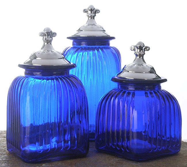 Classic Solutions 3 Piece Blue Glass Canister Set Free