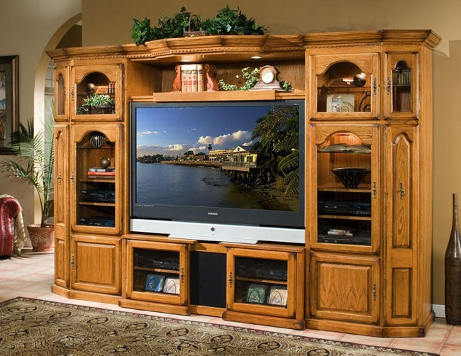 Oak 4 Piece Expandable Home Theater Center Wall Unit Free Shipping Today