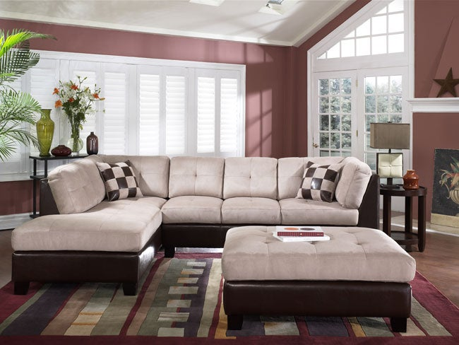 Tufted Tan Sectional Sofa and Large Ottoman