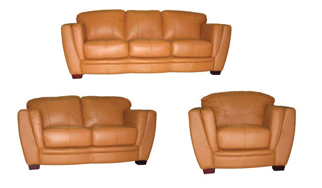 Cognac Leather Sofa, Loveseat And Chair Set