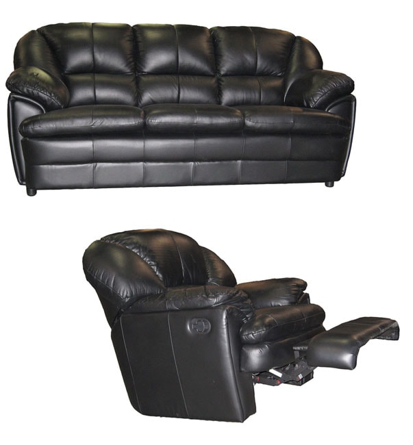Genial Black Leather Sofa And Reclining Rocking Chair Set