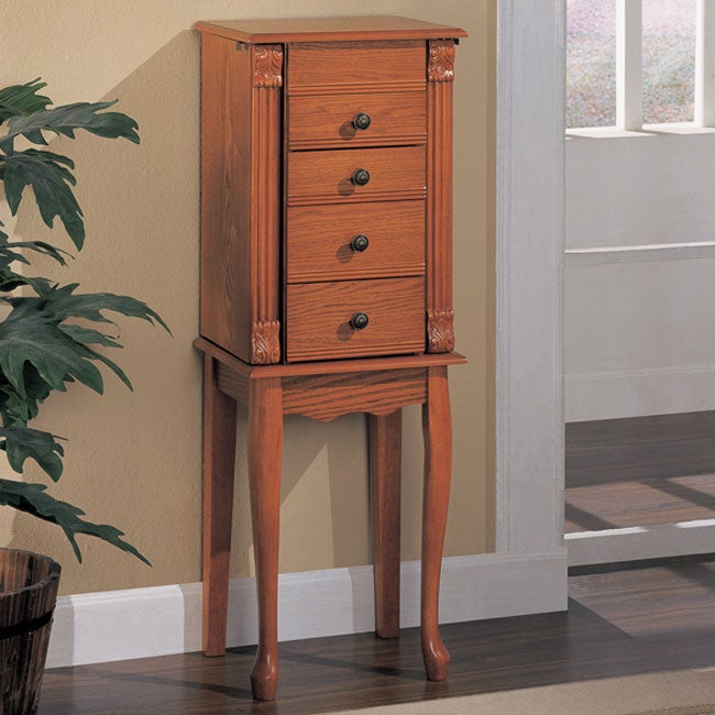 7c06bc84a Shop Small Oak Jewelry Armoire - Free Shipping Today - Overstock - 2104837