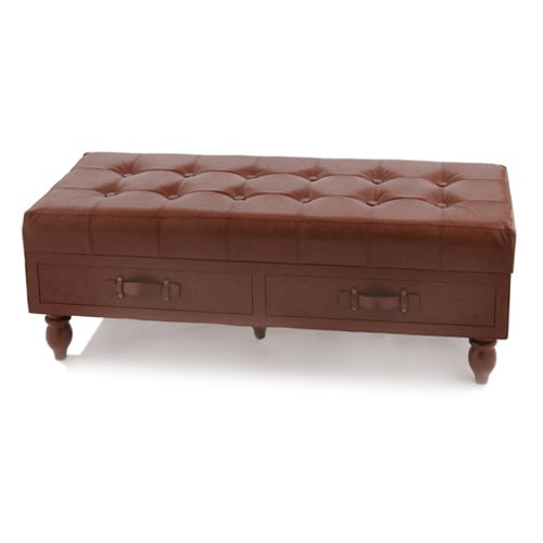 Genuine Leather Tuffed Storage Bench Free Shipping Today