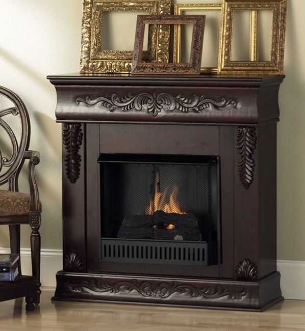 Mahogany Carved Ventless Fireplace Free Shipping Today