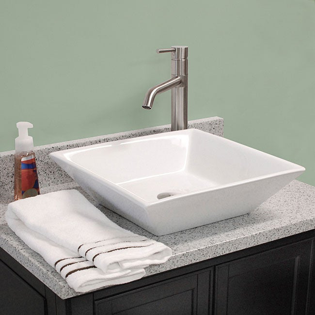 Fontaine Shallow Square Porcelain Bathroom Vessel Sink - Thumbnail 0