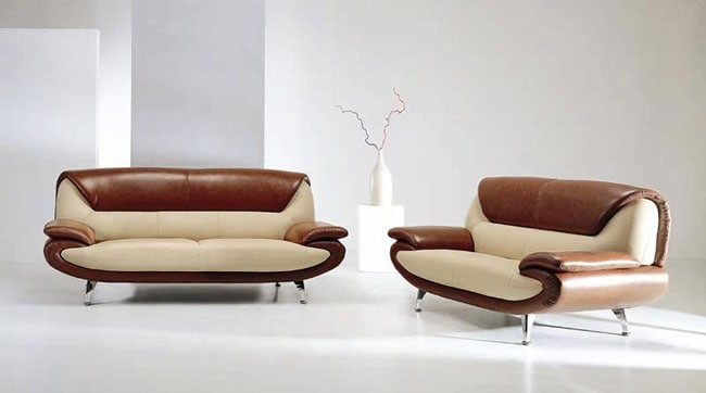Modern Beige/Brown Leather Sofa and Loveseat Set - Thumbnail 0