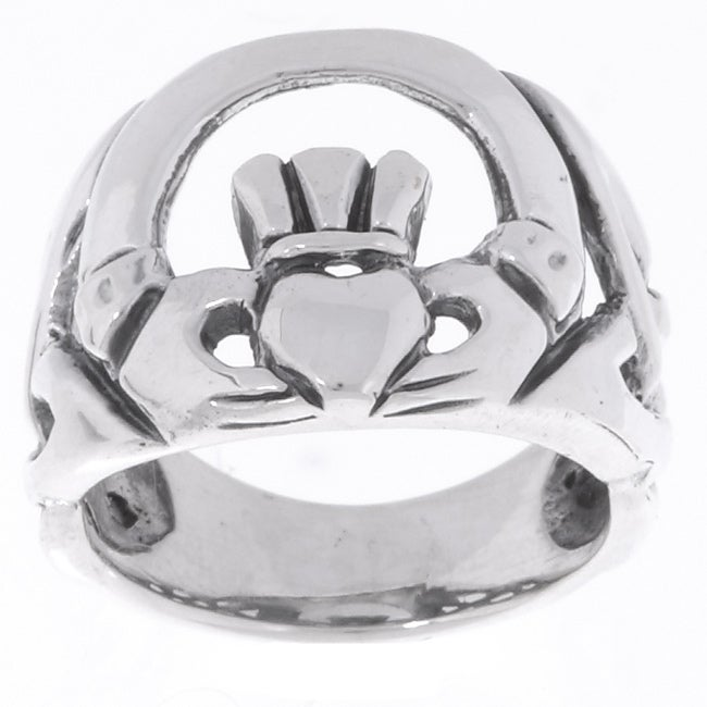 Journee Collection Sterling Silver Large Celtic Claddagh Ring