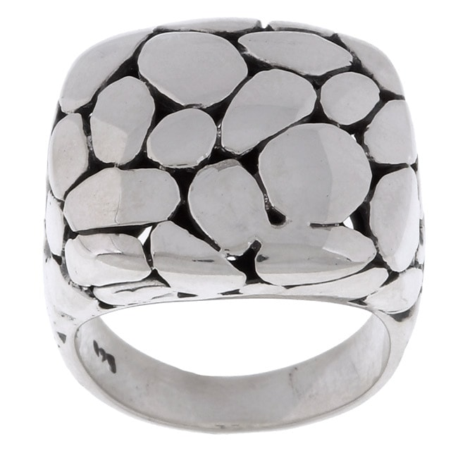 Sterling Silver Chunky Circle Design Fashion Ring